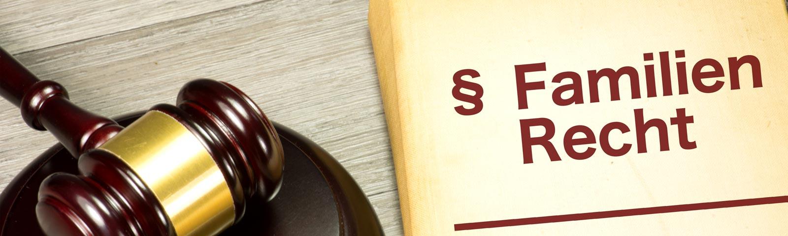 Richterhammer mit Gesetzbuch Familienrecht